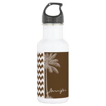 Beach Themed Summer Palm; Brown Chevron; zig zag Stainless Steel Water Bottle