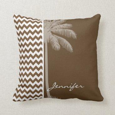 Beach Themed Summer Palm; Brown Chevron; zig zag Throw Pillow