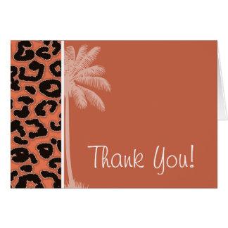Summer Palm; Burnt Sienna Leopard Animal Print Card