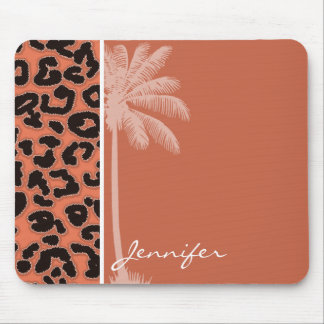 Summer Palm; Burnt Sienna Leopard Animal Print Mouse Pad