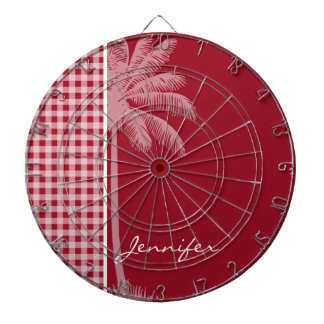 Summer Palm; Carmine Red Gingham; Checkered Dart Board