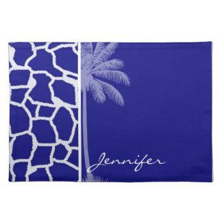 Summer Palm Dark Blue Giraffe Print Place Mats