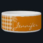 """Summer Palm; Dark Orange Gingham Bowl<br><div class=""""desc"""">You will love this cute, tropical Dark Orange Gingham; Checkered pattern design! The elegant palm tree adds a summer beach theme yet modern feel. Visit our store, Trendy Wedding, to view this cool pattern on many more great customizable products, including girly monogram gifts, tropical themed Save the Date postcards and...</div>"""