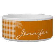 Summer Palm; Dark Orange Gingham Bowl