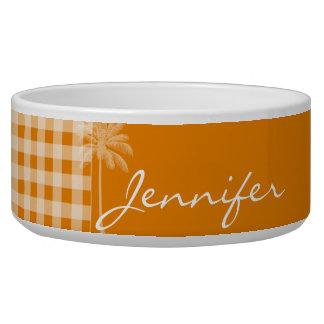 Summer Palm; Dark Orange Gingham Dog Water Bowls