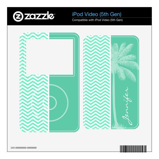 Summer Palm on Aquamarine Chevron; zig zag Decal For The iPod Video