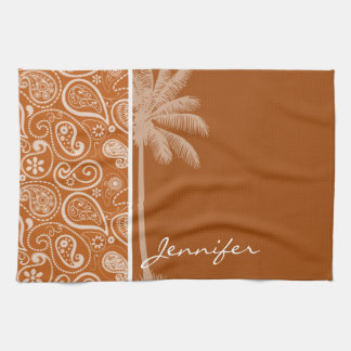 Summer Palm on Burnt Orange Paisley; Floral Towel