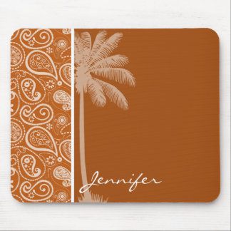 Summer Palm on Burnt Orange Paisley; Floral Mouse Pad