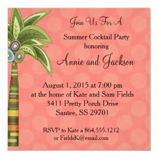 Summer Palm Tree Cocktail Party Invite Peachy