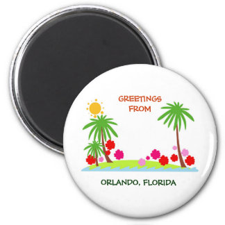 Summer--palm trees and sun, Greetings from Orlando 2 Inch Round Magnet