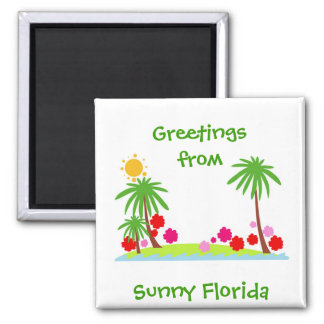 Summer--palm trees and sun refrigerator magnet