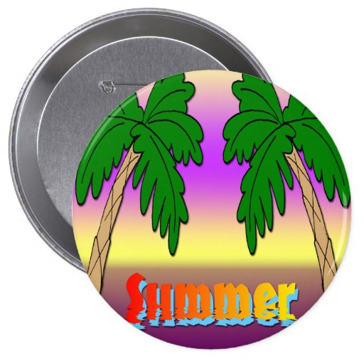 Summer Palm Trees Pinback Buttons