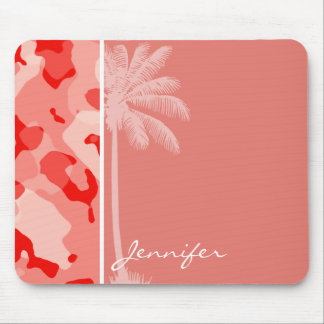 Summer Palm with Coral Pink Camo; Camouflage Mouse Pad