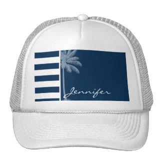 Summer Palm with Dark Midnight Blue Stripes Mesh Hat