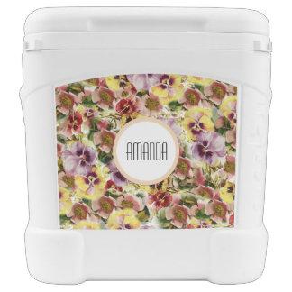 Summer pansies wildflower monogram cooler