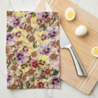 Summer pansies wildflower monogram kitchen towel