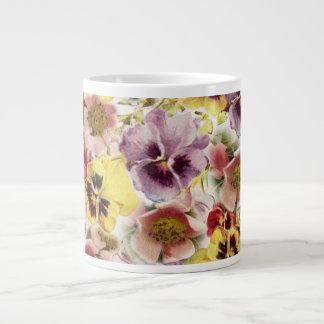 Summer pansies wildflower monogram large coffee mug