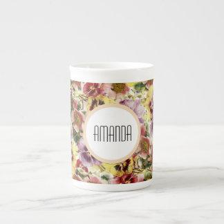 Summer pansies wildflower monogram tea cup