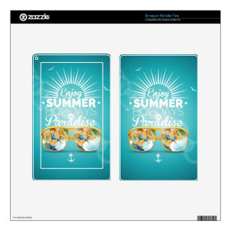 Summer Paradise Design Decals For Kindle Fire