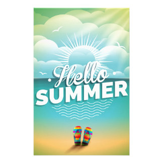 Summer Paradise Design with flip flops Stationery