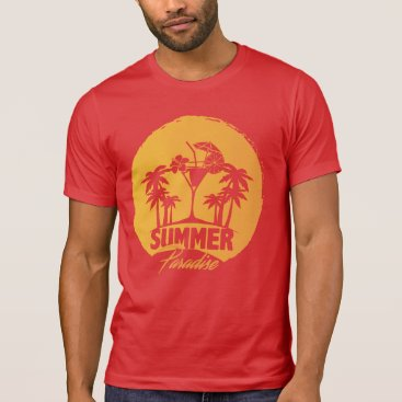 Beach Themed Summer Paradise  Palms And  Coctails Men's Tshirts