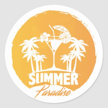 Beach Themed Summer Paradise  Palms And  Coctails Sticker