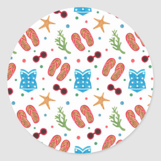 Summer Paradise Pattern Classic Round Sticker