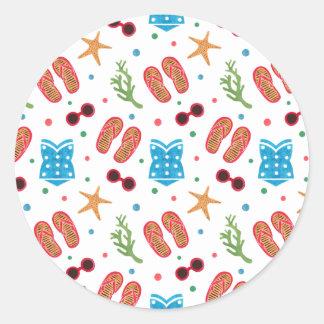 Summer Paradise Pattern on Sticker Illustration by Haidi Shabrina