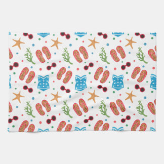 Summer Paradise Pattern on Kitchen Towel Illustration by Haidi Shabrina