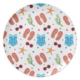 Summer Paradise Pattern Melamine Plate
