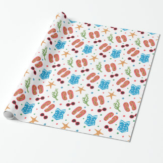 Summer Paradise Pattern on Gift Wrapping Paper Illustration by Haidi Shabrina