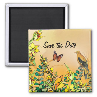Summer Paradise Save The Date 2 Inch Square Magnet