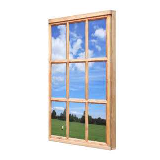 Summer Park 3D Effect Window View Picture Stretched Canvas Prints