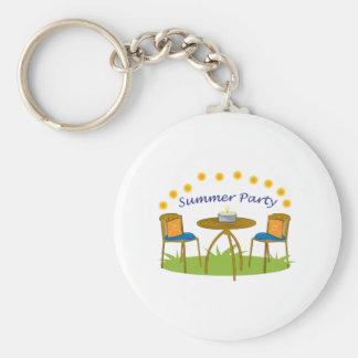 Summer Party Basic Round Button Keychain