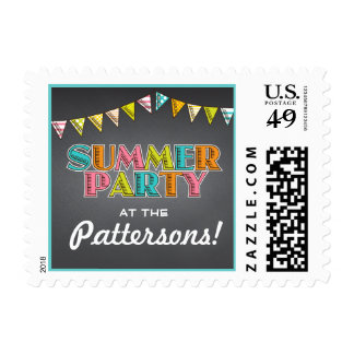 Summer Party Chalkboard Fun in the Sun Invitation Postage Stamp