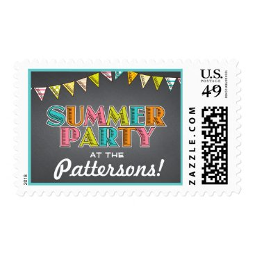 Beach Themed Summer Party Chalkboard Fun in the Sun Invitation Postage