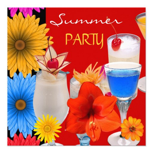 Summer Party Cocktails Drinks Red Blue Yellow Personalized Invite