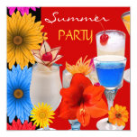 Summer Party Cocktails Drinks Red Blue Yellow 5.25x5.25 Square Paper Invitation Card