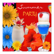 Summer Party Cocktails Drinks Red Blue Yellow 5.25x5.25 Square Paper Invitation Card at Zazzle