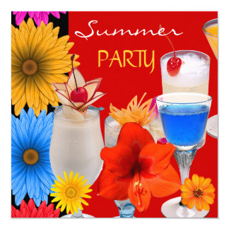 Summer Party Cocktails Drinks Red Blue Yellow Invitation