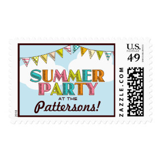 Summer Party Colorful Fun in the Sun Invitation Postage