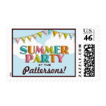 Summer Party Colorful Fun in the Sun Invitation Postage Stamps