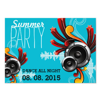 Summer Party design with speaker. Card