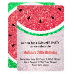 Hand shaped summer party faux glitter watermelon card