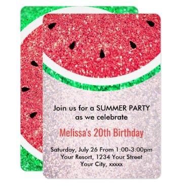 Beach Themed summer party faux glitter watermelon card
