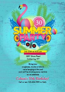 Summer Party Flamingo Invitation