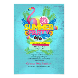 Summer Party Flamingo Invitation
