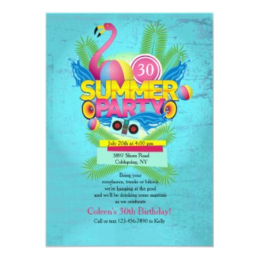 Beach Themed Summer Party Flamingo Invitation