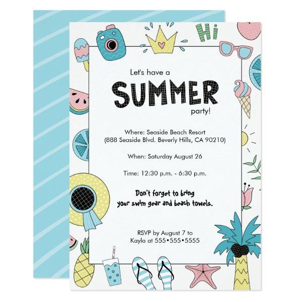 Summer Party! Fun Beach theme Card