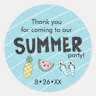 Summer Party! Fun Beach theme Classic Round Sticker